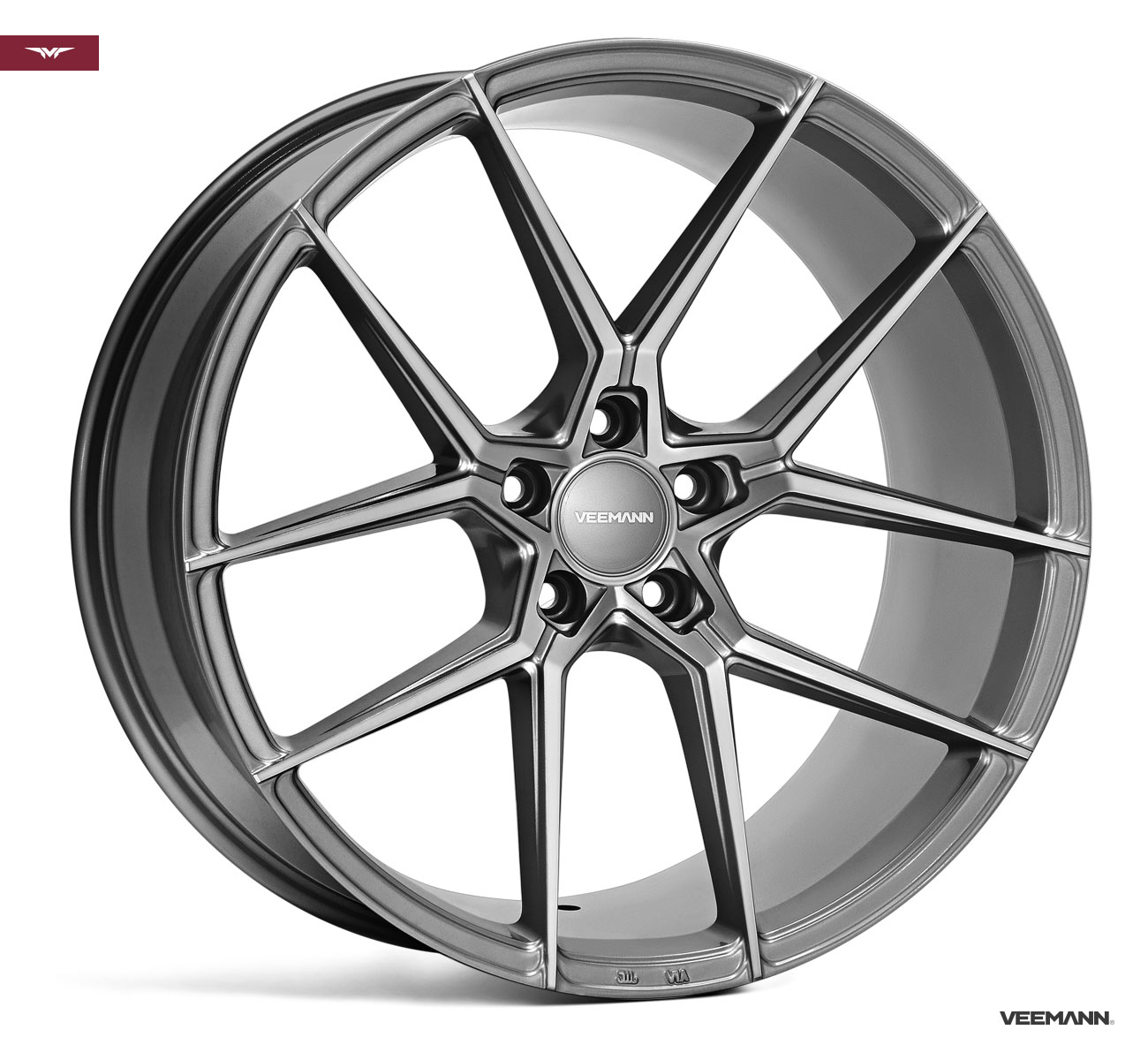 "NEW 19"" VEEMANN V-FS39 ALLOY WHEELS IN GLOSS GRAPHITE WIDER 9.5"" REAR"